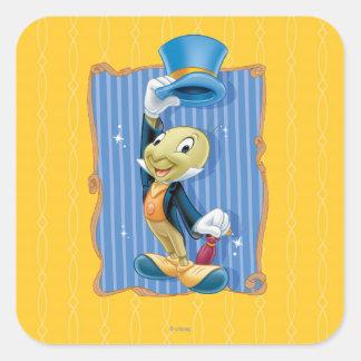 Jiminy Cricket Lifting His Hat Square Sticker