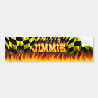 Jimmie real fire and flames bumper sticker design.