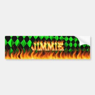Jimmie real fire and flames bumper sticker design. car bumper sticker