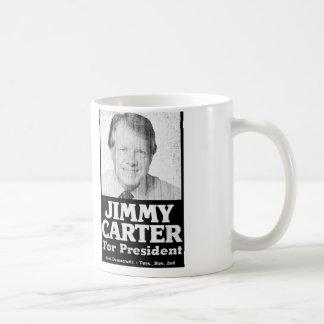 Jimmy Carter apenó blanco y negro Taza Básica Blanca