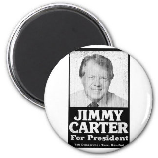 Jimmy Carter Distressed Black And White 2 Inch Round Magnet