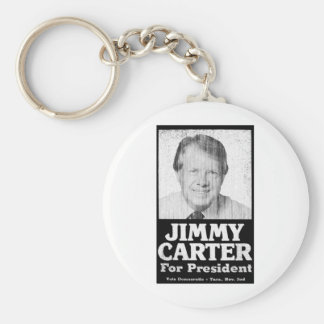 Jimmy Carter Distressed Black And White Basic Round Button Keychain