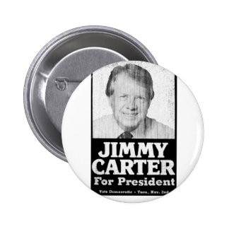 Jimmy Carter Distressed Black And White Button