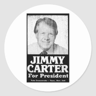 Jimmy Carter Distressed Black And White Classic Round Sticker