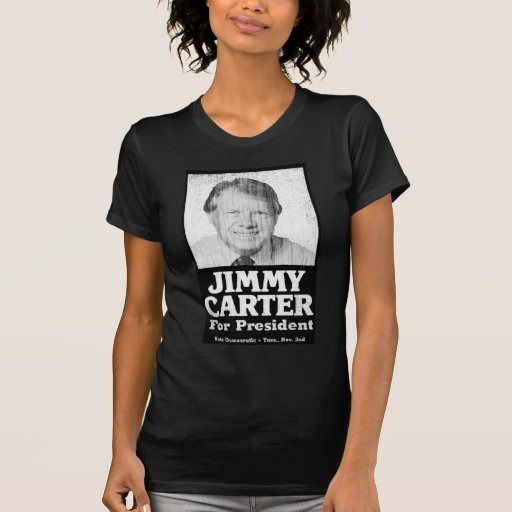 Jimmy Carter Distressed Black And White Tee Shirts