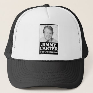 Jimmy Carter Distressed Black And White Trucker Hat