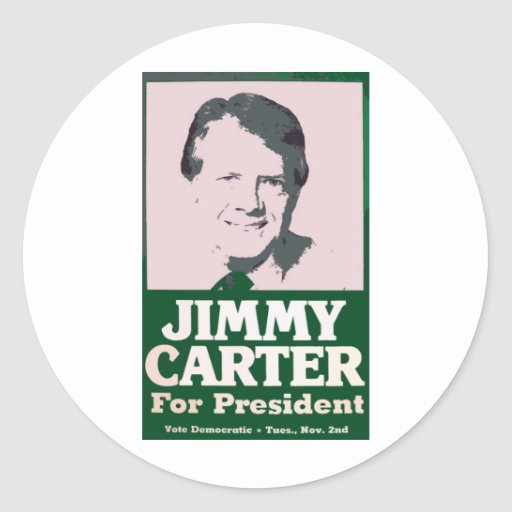Jimmy Carter Distressed Cut Out Look Round Stickers