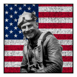 Jimmy Doolittle and The US Flag -- Border Print