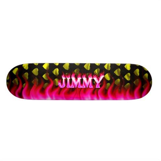 Jimmy pink fire Skatersollie skateboard.