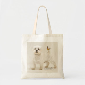 Jimmy, shelter dog with butterfly on tail canvas bag