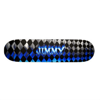Jimmy skateboard blue fire and flames design