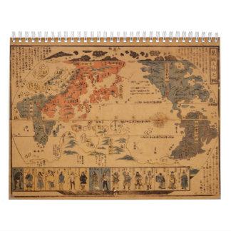 Jinbutsu 1850 de Bankoku ninguna gente del zu de m Calendario