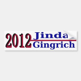 Jindal Gingrich for President 2012 Bumper Sticker