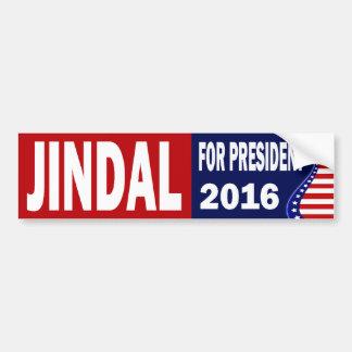 Jindal para el presidente 2016 pegatina para auto