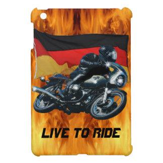 Jinete alemán de la bandera y de la moto