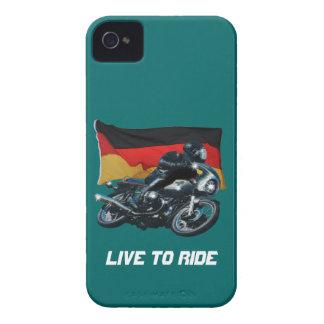 Jinete alemán de la bandera y de la moto Case-Mate iPhone 4 funda