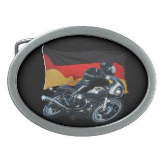 Jinete alemán de la bandera y de la moto hebilla de cinturon oval