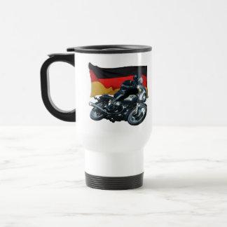 Jinete alemán de la bandera y de la moto taza térmica