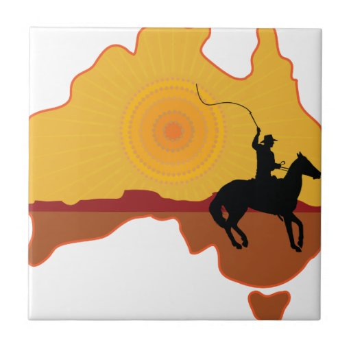 Jinete de Australia Azulejos Cerámicos