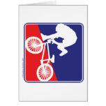Jinete de BMX - blanco y azul rojos Felicitaciones