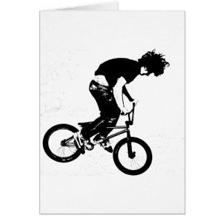 Jinete de BMX en blanco y negro Felicitacion