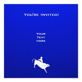 "Jinete de Bull azul Invitación 5.25"" X 5.25"""