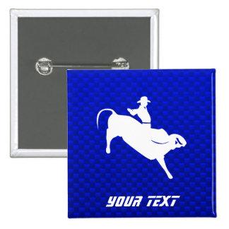 Jinete de Bull azul Pin Cuadrada 5 Cm