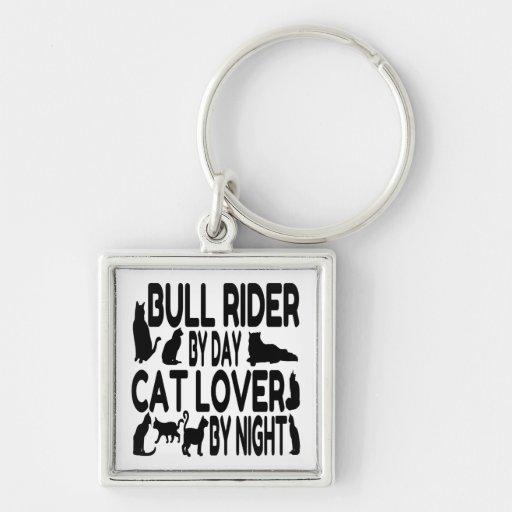 Jinete de Bull del amante del gato Llaveros Personalizados