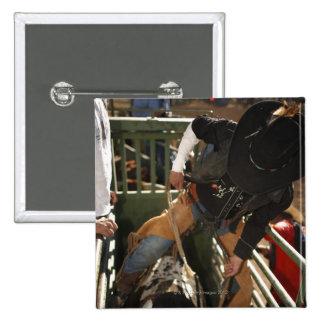 Jinete de Bull que ata la cuerda en toro en el can Pin Cuadrada 5 Cm