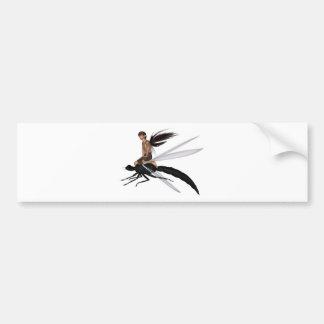 Jinete de hadas de la libélula etiqueta de parachoque