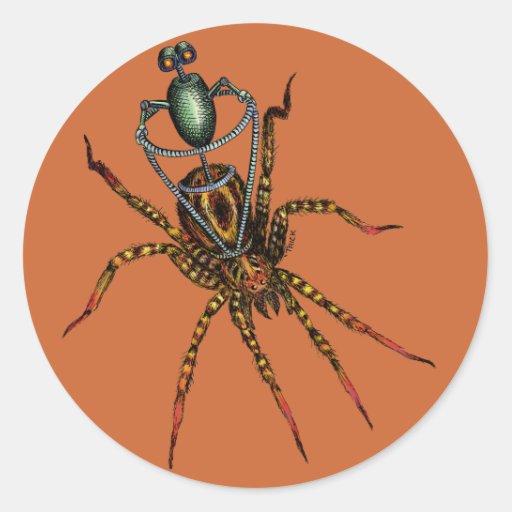 Jinete de la araña pegatina redonda