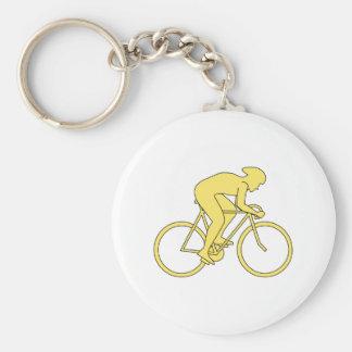 Jinete de la bicicleta en amarillo llavero