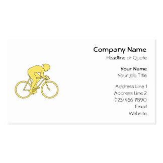 Jinete de la bicicleta en amarillo tarjetas de visita