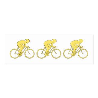 Jinete de la bicicleta en amarillo tarjetas de visita mini
