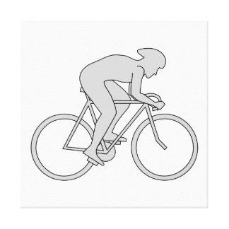 Jinete de la bicicleta en gris lona estirada galerías