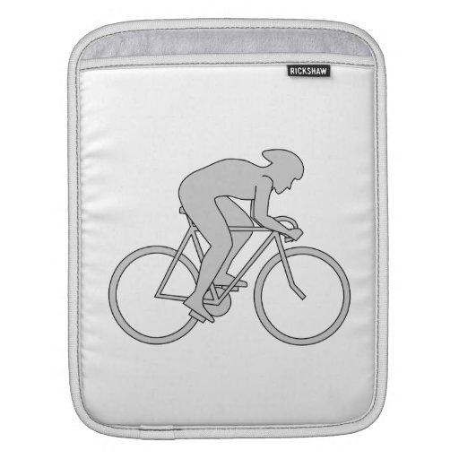 Jinete de la bicicleta en gris mangas de iPad