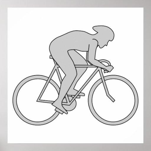Jinete de la bicicleta en gris poster