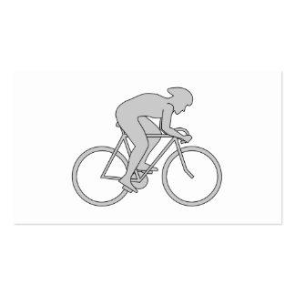 Jinete de la bicicleta en gris tarjetas de visita