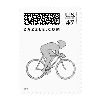 Jinete de la bicicleta en gris timbre postal