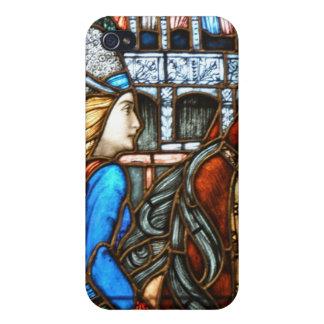 Jinete de la fantasía del vitral de Nouveau del ar iPhone 4 Cárcasas