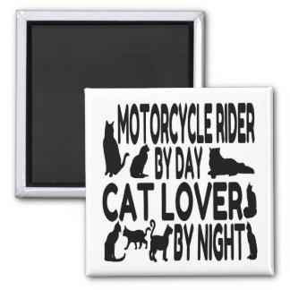 Jinete de la motocicleta del amante del gato imán cuadrado