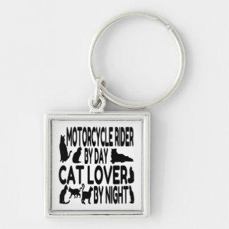 Jinete de la motocicleta del amante del gato llavero cuadrado plateado