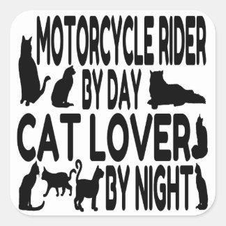 Jinete de la motocicleta del amante del gato pegatina cuadrada