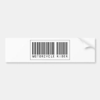 Jinete de la motocicleta del código de barras pegatina para auto