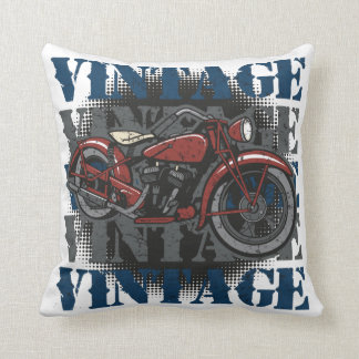 Jinete de la motocicleta del vintage cojín
