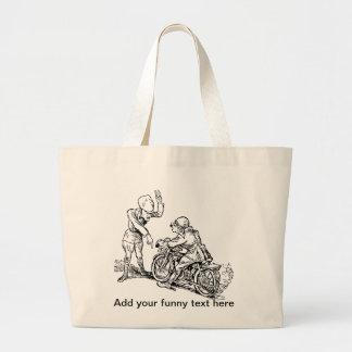 Jinete de la motocicleta y humor del policía bolsa lienzo