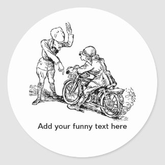 Jinete de la motocicleta y humor del policía pegatina redonda
