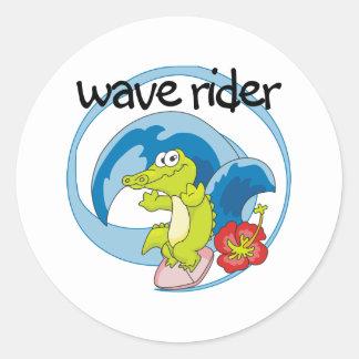 Jinete de la onda etiquetas redondas