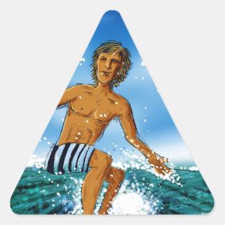 Jinete de la resaca pegatina triangular