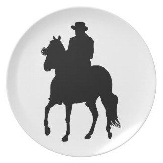 Jinete de la silueta del caballo de Paso Fino Platos Para Fiestas